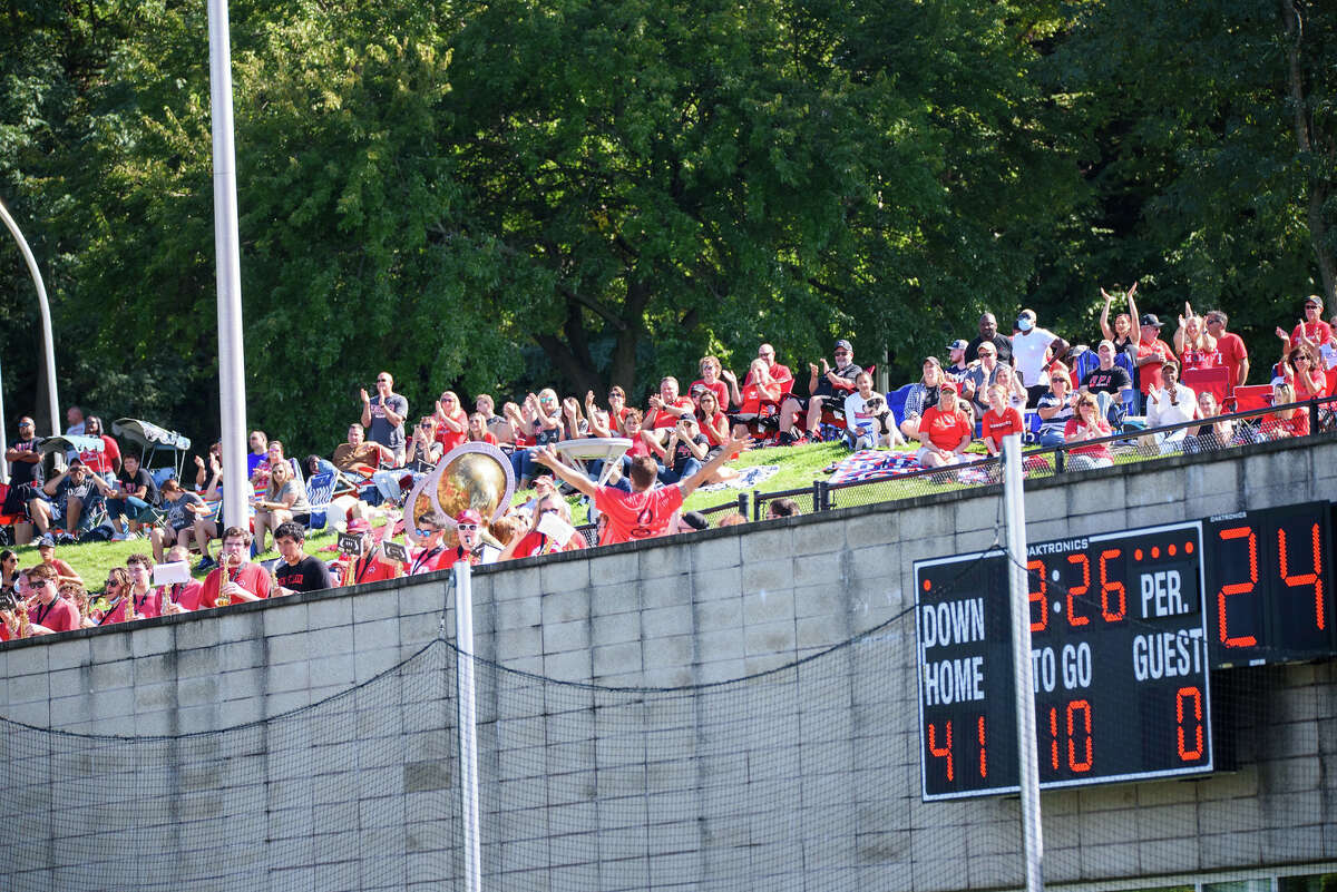 RPI football parents aren't happy with the view they have from behind one end zone, not allowed inside East Campus stadium because of the school's COVID-19 policy. (Eric Cohen)