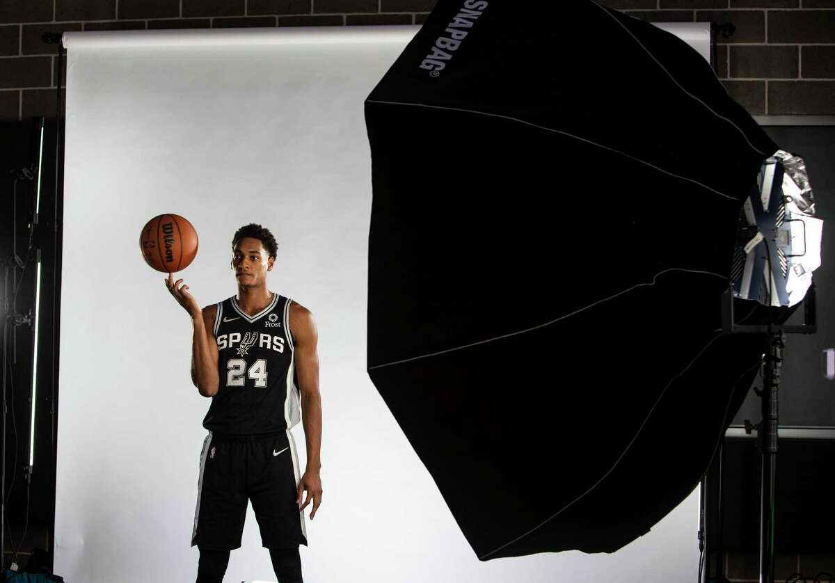 Spurs guard/forward Devin Vassell poses for photos Monday, Sept. 27, 2021 at the Spurs practice facility during the team's media day.