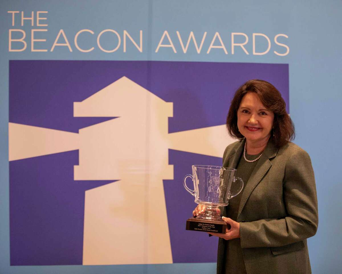 Audrey Curry received the Judge Pat Baskin Family Volunteer of the Year award for her work with Girl Scouts of the Desert Southwest during the Beacon Awards on Thursday, Sept. 30, 2021 at the Odessa Marriott Hotel and Conference Center. Jacy Lewis/Reporter-Telegram