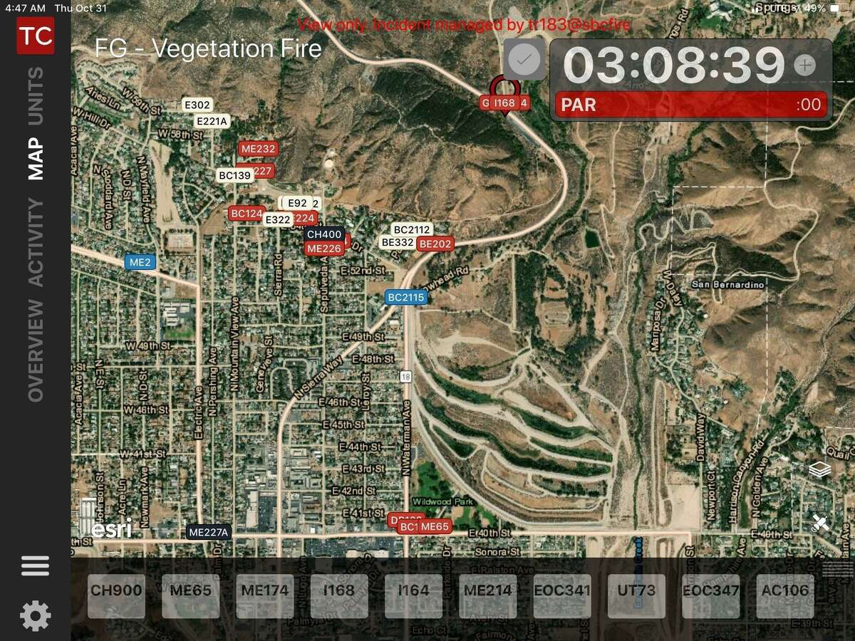 Tablet Command shows fire commanders the location of their vehicles on a dynamic fire map through Automatic Vehicle Location (AVL) as shown in this October 2020 San Bernardino County incident.
