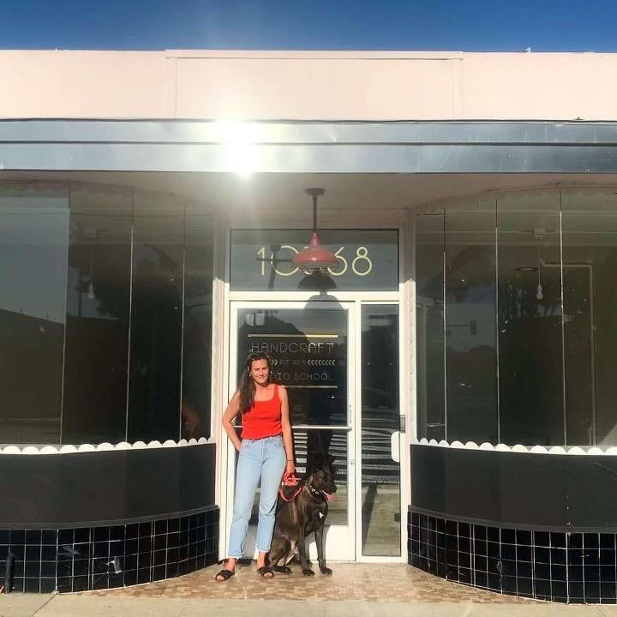 Claire Sullivan outside the El Cerrito storefront where she plans to open a new natural wine bar, Banter.