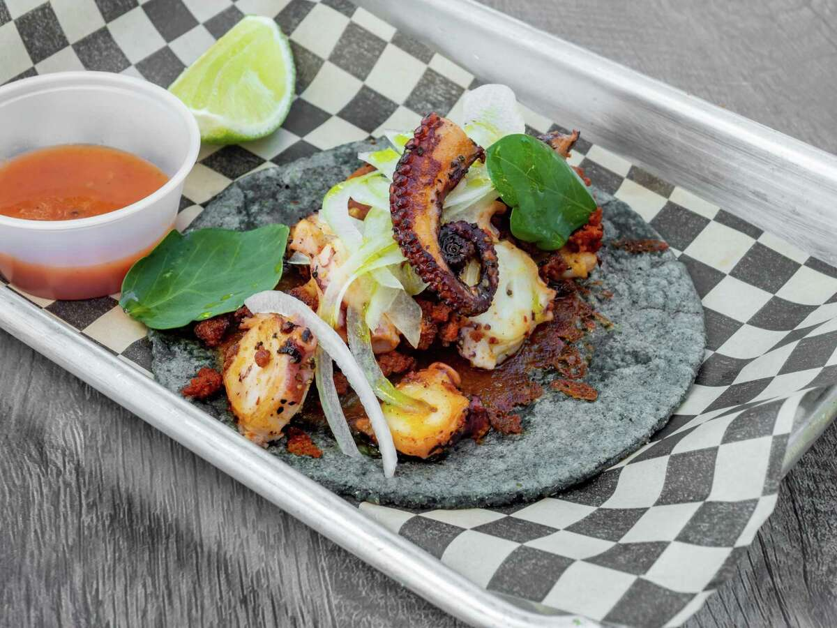 Octopus and chorizo taco on a fresh blue corn tortilla from Pre-Hispanic Mexican Cuisine, a new food truck in San Jose.