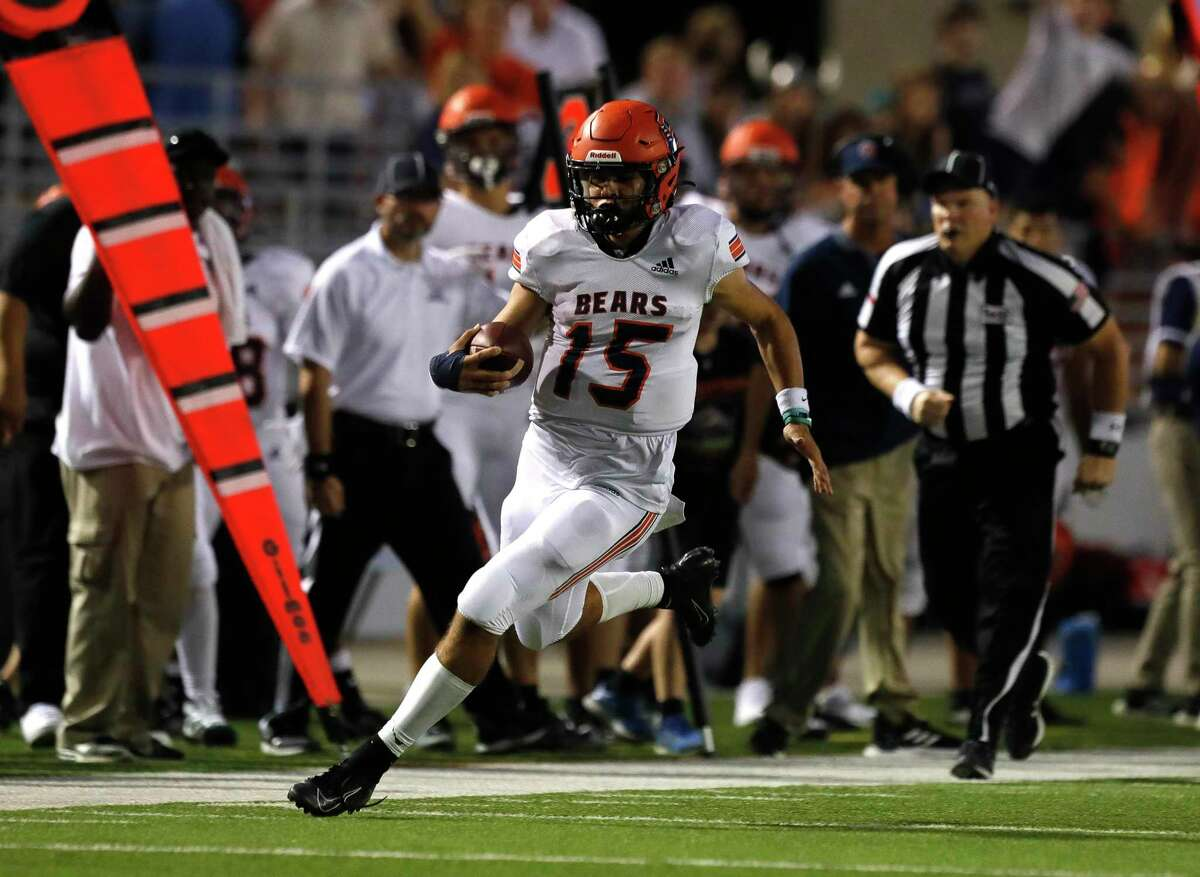 Bridgeland quarterback Conner Weigman (15) runs for a 39-yard gain during the second quarter of a non-district high school football game at Woodforest Bank Stadium, Friday, Sept. 10, 2021, in Shenandoah.
