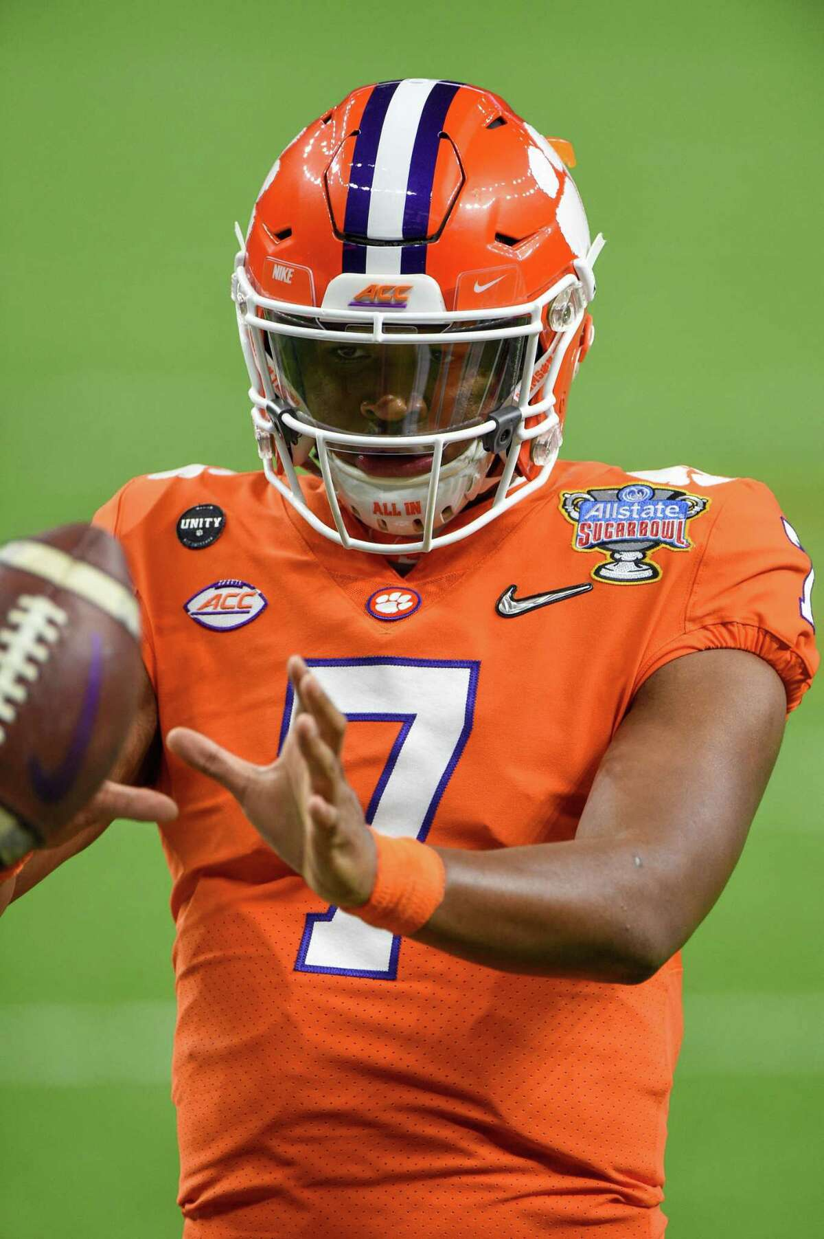 NEW ORLEANS, LA - JANUARY 01: Clemson Tigers quarterback Taisun Phommachanh (7) warms up before the Allstate Sugar Bowl College Football Playoff Semifinal between the Ohio State Buckeyes and Clemson Tigers at the Mercedes-Benz Superdome on January 1, 2021 in New Orleans, LA. (Photo by Ken Murray/Icon Sportswire via Getty Images)