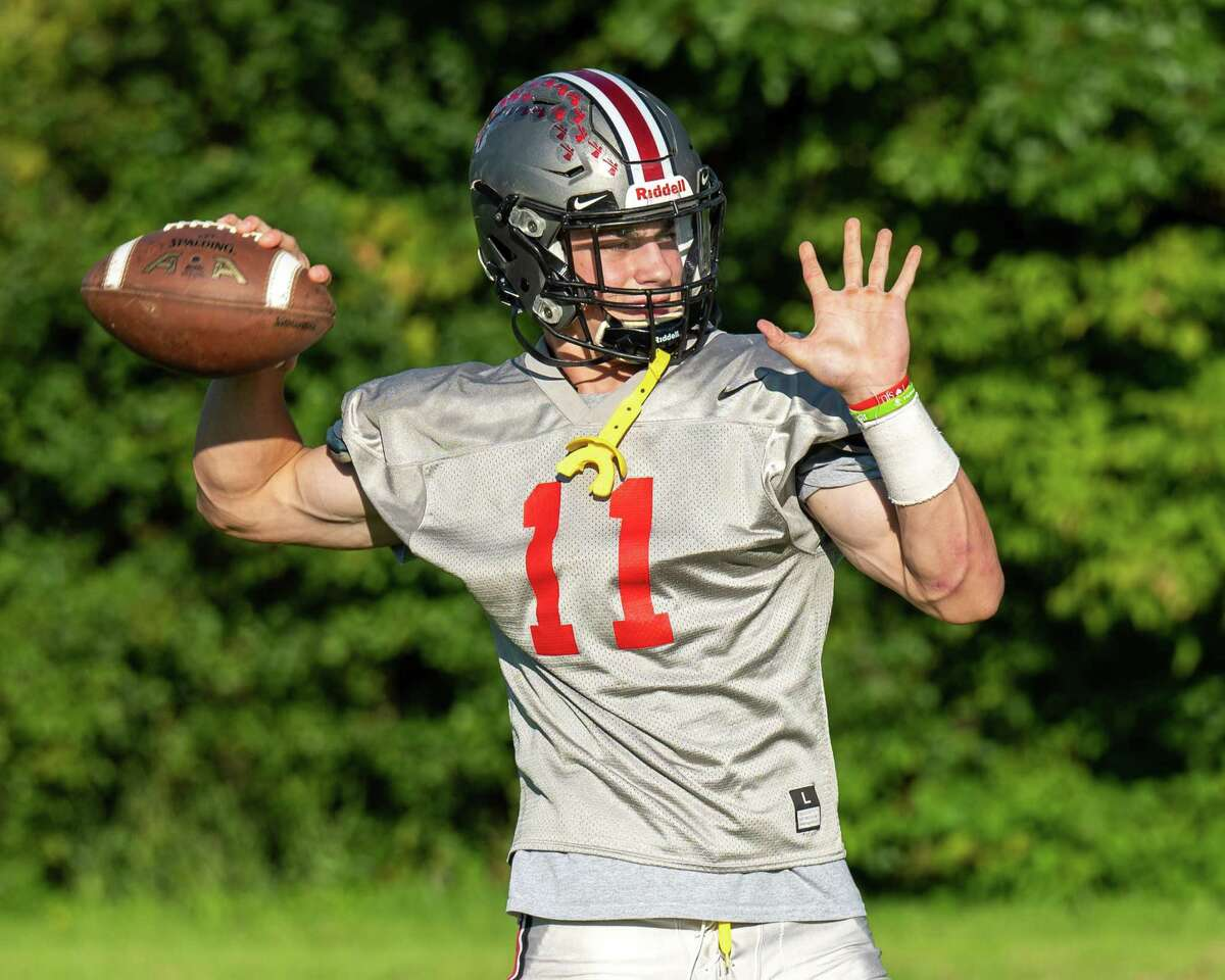 Niskayuna High quarterback Dan Quinn during a practice at Niskayuna High School on Tuesday, Sept. 28, 2021. (Jim Franco/Special to the Times Union)