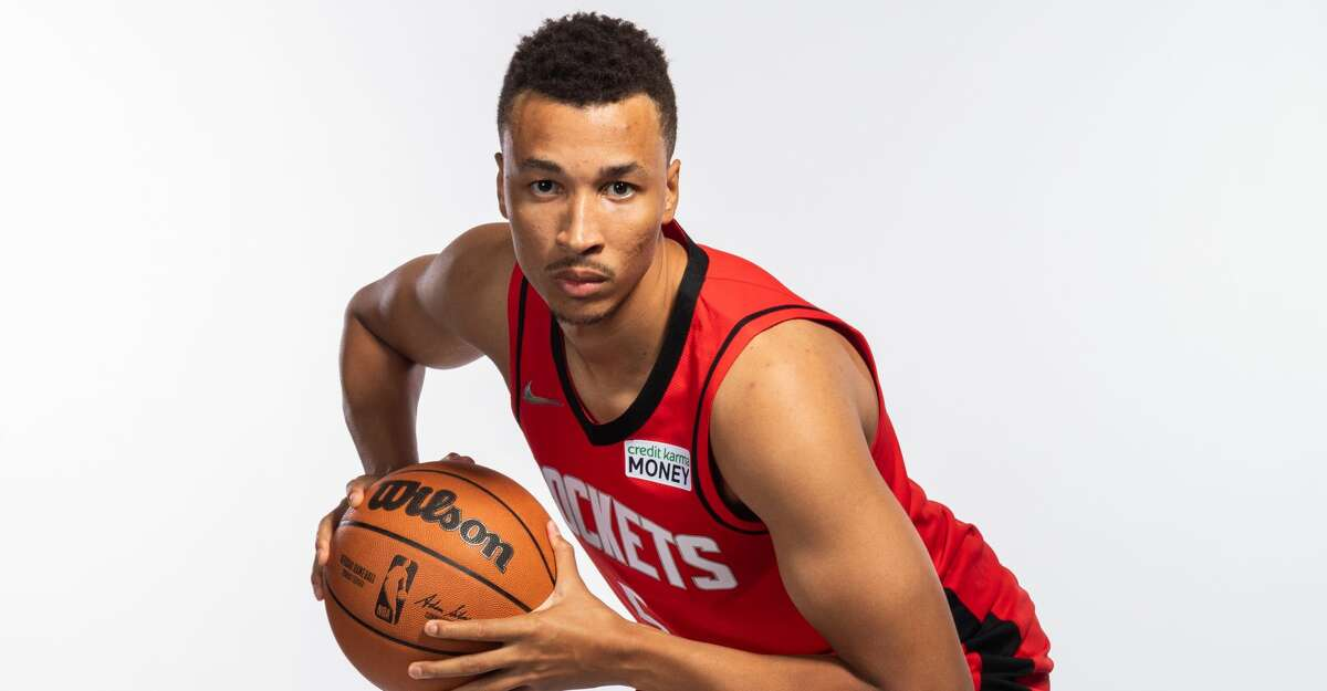Dante Exum #5 of the Houston Rockets poses for a portrait during Houston Rockets Media Day at Post Oak Hotel on September 27, 2021 in Houston, Texas. (Photo by Michael Starghill/Getty Images)
