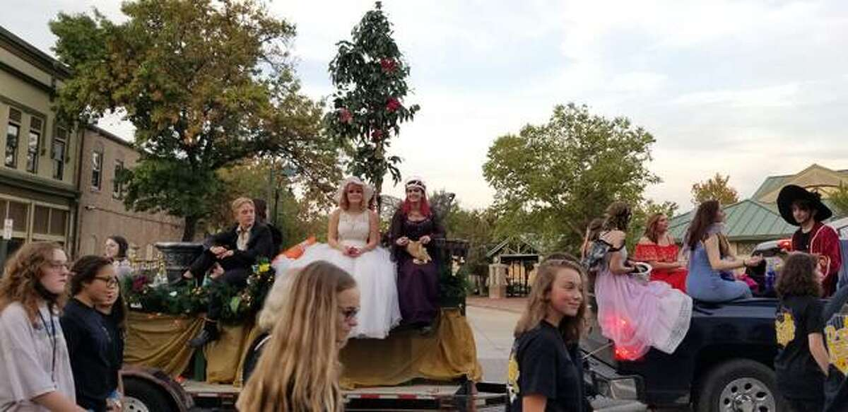 """EHS Drama Club won first place for their float in the parade, which followed this year's Homecoming theme """"An Evening of Enchantment."""""""
