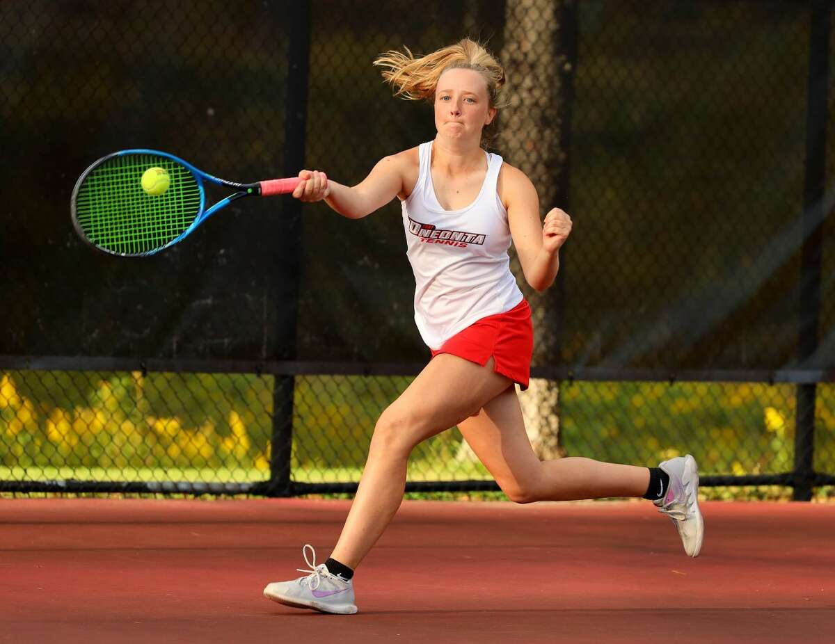 Queensbury graduate Olivia Fraser of the SUNY Oneonta women's tennis team.