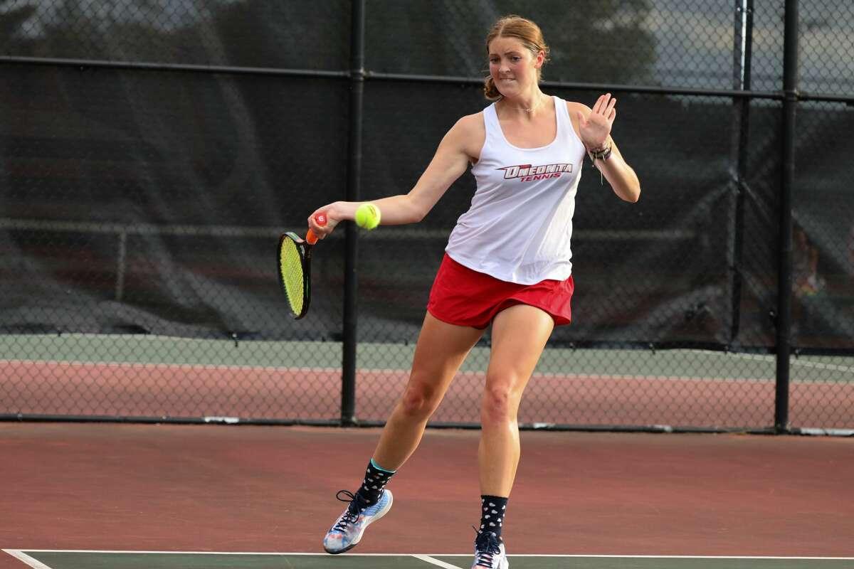 Bethlehem graduate Madeline Carswell of the SUNY Oneonta women's tennis team.