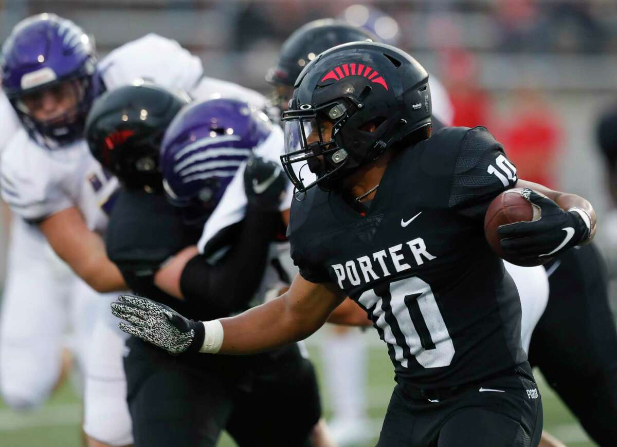 Porter running back Joshua Evans-Pickens (10), shown here earlier this season against Montgomery, had a pair of rushing touchdowns Thursday night against Cleveland.