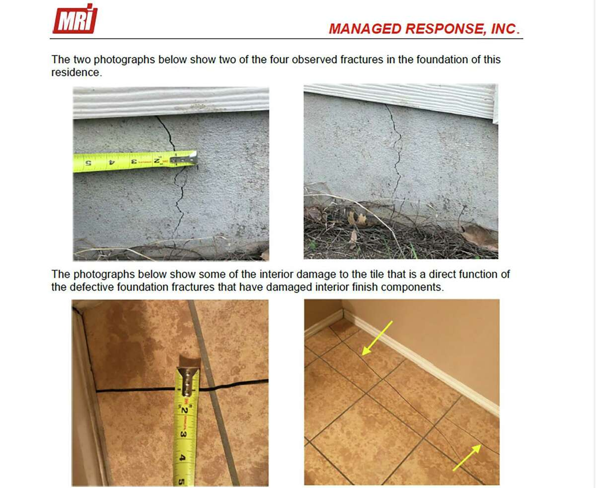 A Sugar Land engineer prepared this report on alleged construction defects at a home in the 9500 block of Lookover Bay in Converse's Hanover Cove neighborhood. The report was attached to a lawsuit brought by the homeowners against Pulte Homes of Texas, doing business as Centex Homes.