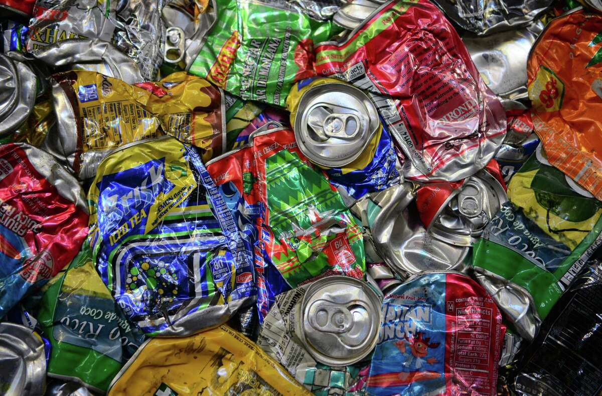 Crushed cans wait to be shipped out in Stratford, Conn., in 2017.