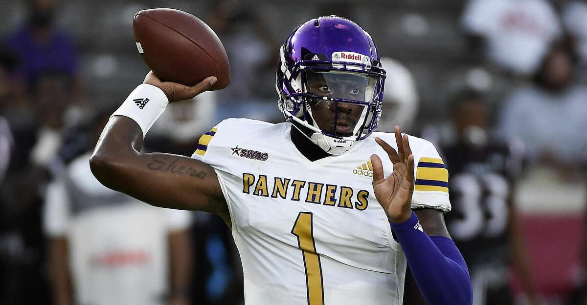 Prairie View A&M quarterback Jawon Pass throws a pass during the first half of an NCAA college football game against Texas Southern , Saturday. Sept. 4, 2021, in Houston.
