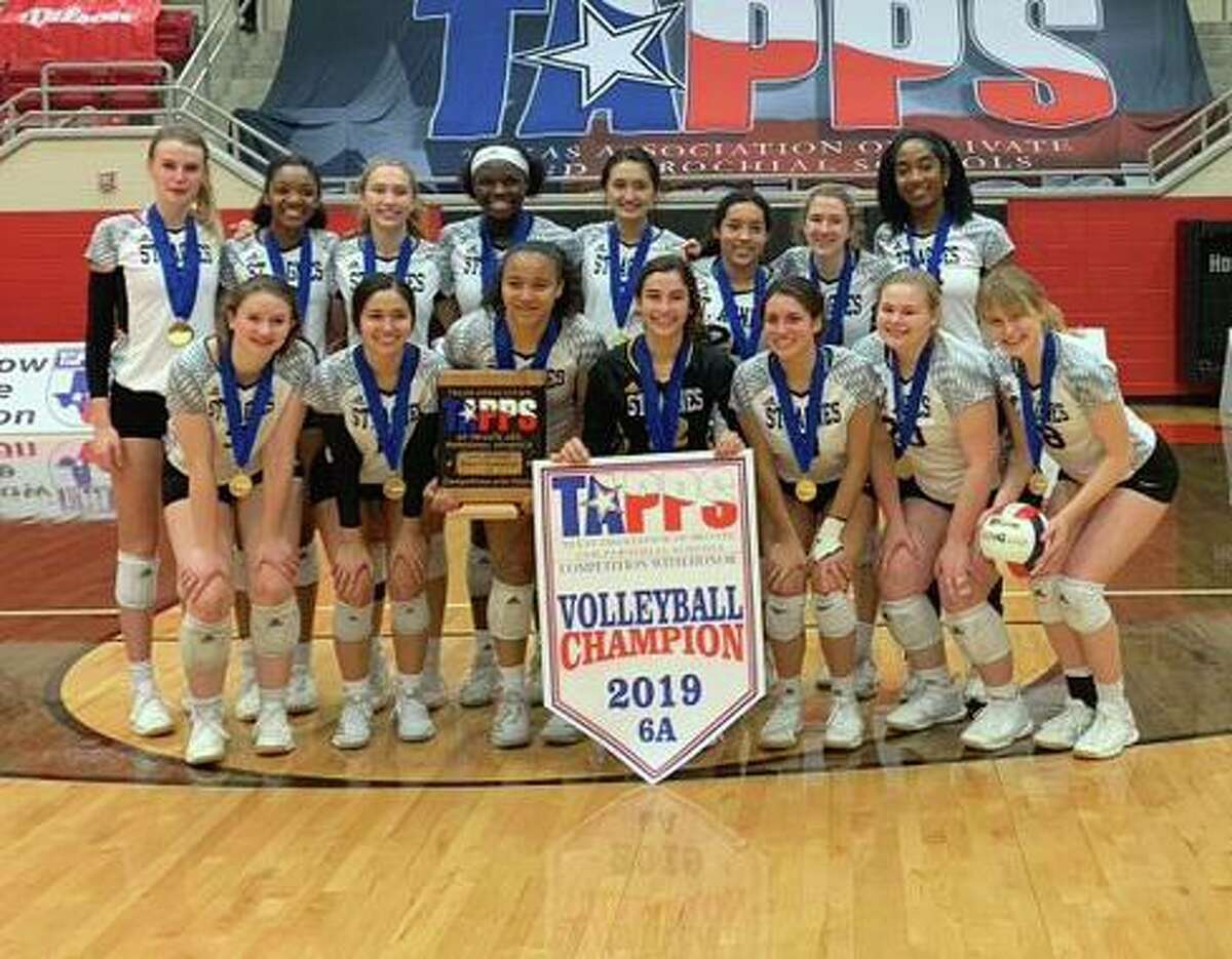 The St. Agnes Academy volleyball team won the 2019 TAPPS 6A state championship, the 14th in program history, rallying from two sets down to defeat Plano Prestonwood Christian in the final.