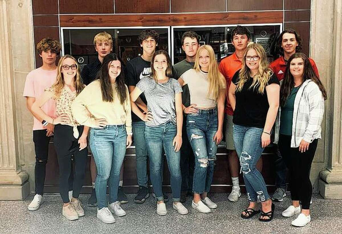 Virginia High School's homecoming court includes Lindy Parlier (front row, from left), Izzy Garner, Megan Reynolds, Hailey Reynolds, Hannah Carpenter and Lynze Brunk, and David Richards (back row, from left), Steven Reynolds, Brady Hildebrand, Sam Cox, Grant Wisdom and Jacob Walkington.