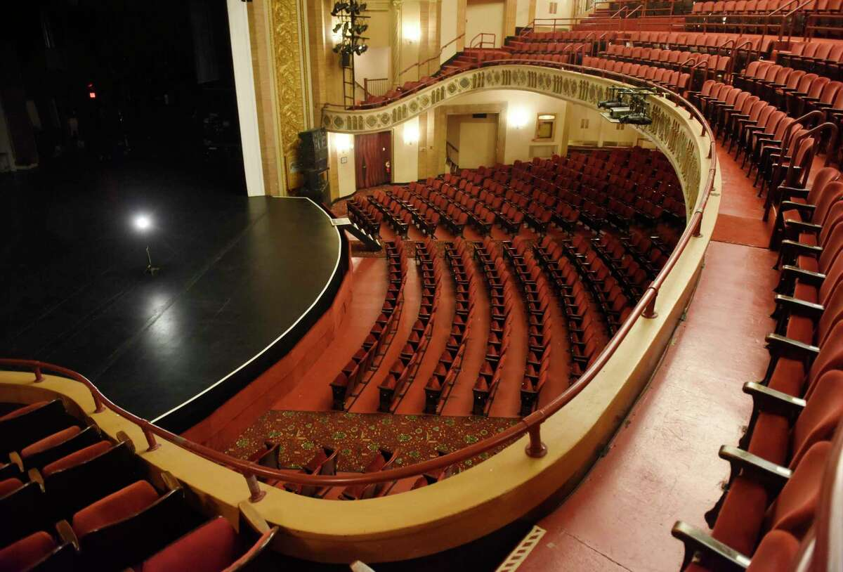 Empty seats fill the auditorium inside the Palace Theatre in Stamford, Conn. Wednesday, Sept. 9, 2020.