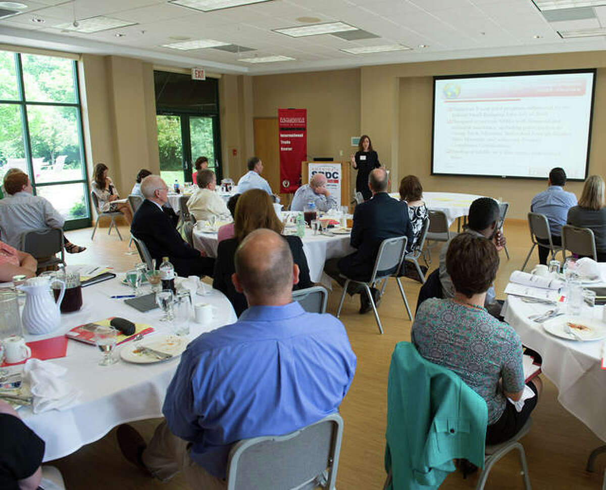 Small business owners attend an event hosted by the Illinois SBDC International Trade Center (ITC) at Southern Illinois University Edwardsville.