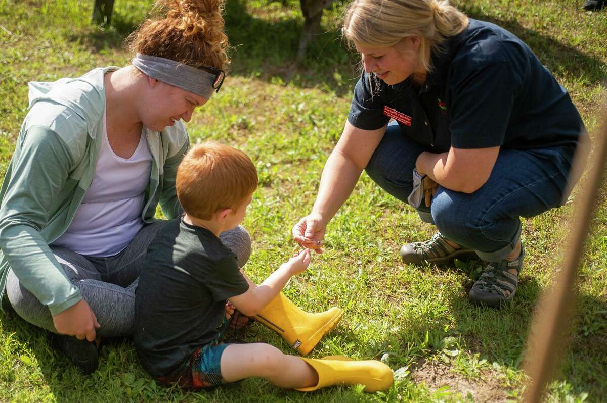 Michelle Fournier of the Chippewa Nature Center, right, chats with Midland residents Allie Robb, left, and Mason Hegenauer, 3, center, as researcher Mike Bishop and Chippewa Nature Center staff catch resident and migratory birds and band them for research Friday, Sept. 10, 2021 at the Nature Center's east Wetlands Area in Midland. (Katy Kildee/kkildee@mdn.net)
