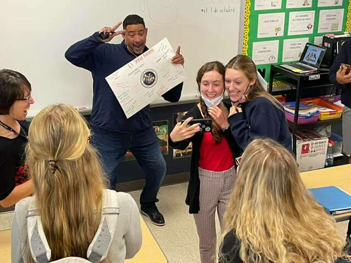 The St. Louis Cardinals Spanish broadcasters, Polo Ascencio and Bengie Molina, joined Father McGivney Catholic High School students Tuesday.