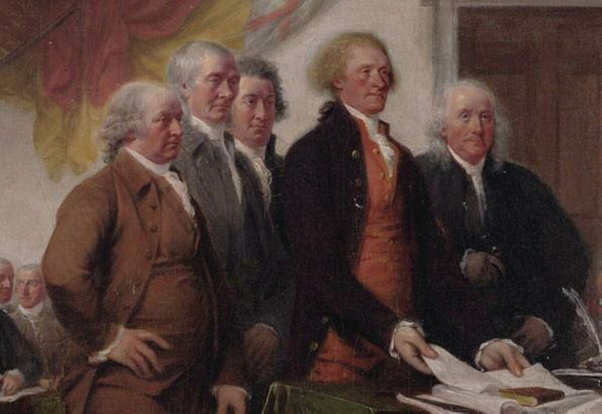 """Detail of """"Declaration of Independence"""" by Jonathan Trumbull. The Committee of Five presents a draft to Congress. Roger Sherman is second from the left, next to John Adams. The others are Robert Livingstone, Thomas Jefferson and Benjamin Franklin. Courtesy Yale University Art Gallery."""