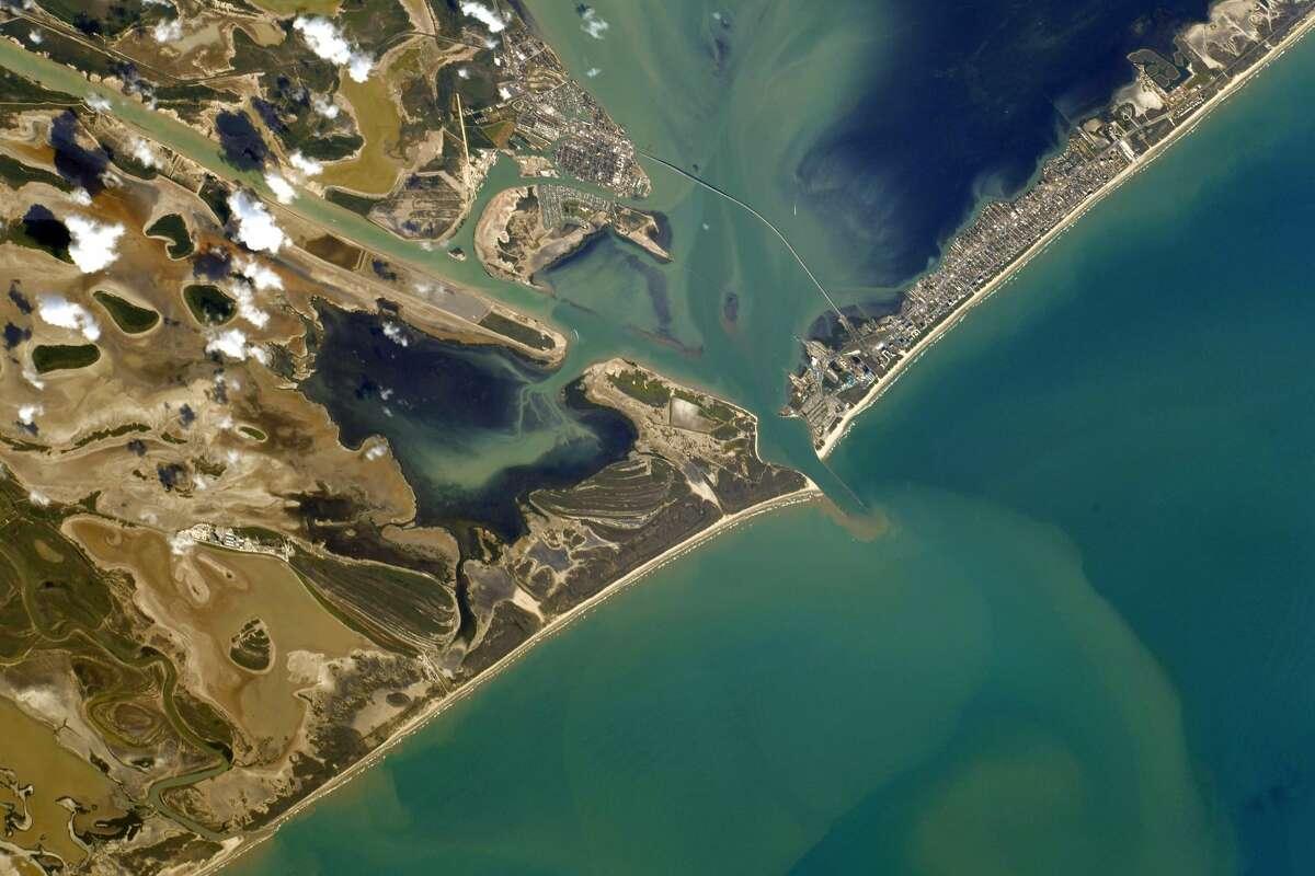 South Padre Island and Boca Chica can be seen in this image shared by NASA astronaut Shane Kimbrough from the International Space Station. SpaceX is developing and testing its Super Heavy rocket and Starship spacecraft from Boca Chica.