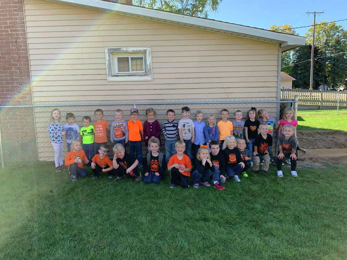 Both classrooms of Ubly preschool during spirit day of Homecoming Week. Program Director Briana Deacons said the beginning of this school year has been going great and that the kids enjoy being together. (Ubly Preschool/Courtesy Photo)