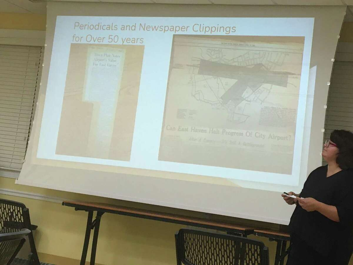 East Haven resident Lorena Venegas speaks to about a dozen attendees at a forum on Wednesday, Sept. 29, 2021 on proposed expansion of Tweed New Haven Regional Airport.