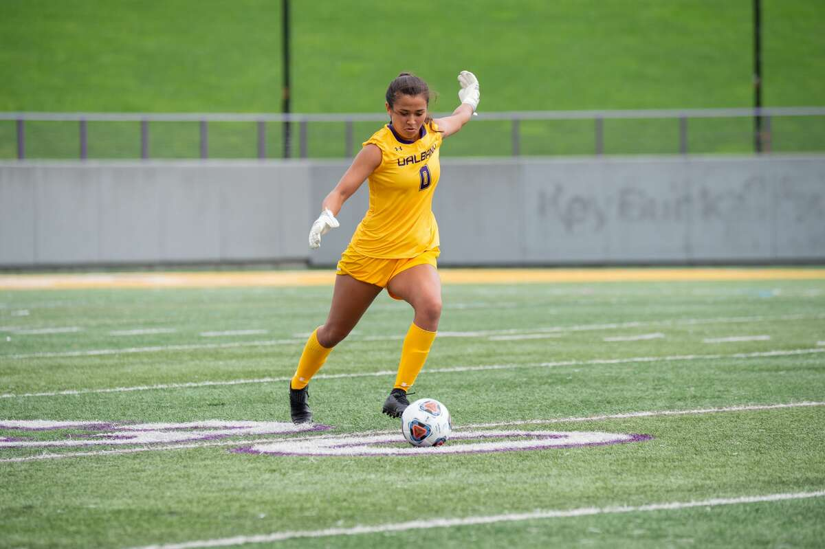 The UAlbany women's soccer team plays a Pride game Sunday, Oct. 3, 2021, celebrating the LGBTQ community and continuing to help support and raise the voice of one of its captains, goalie Sophia Chen.