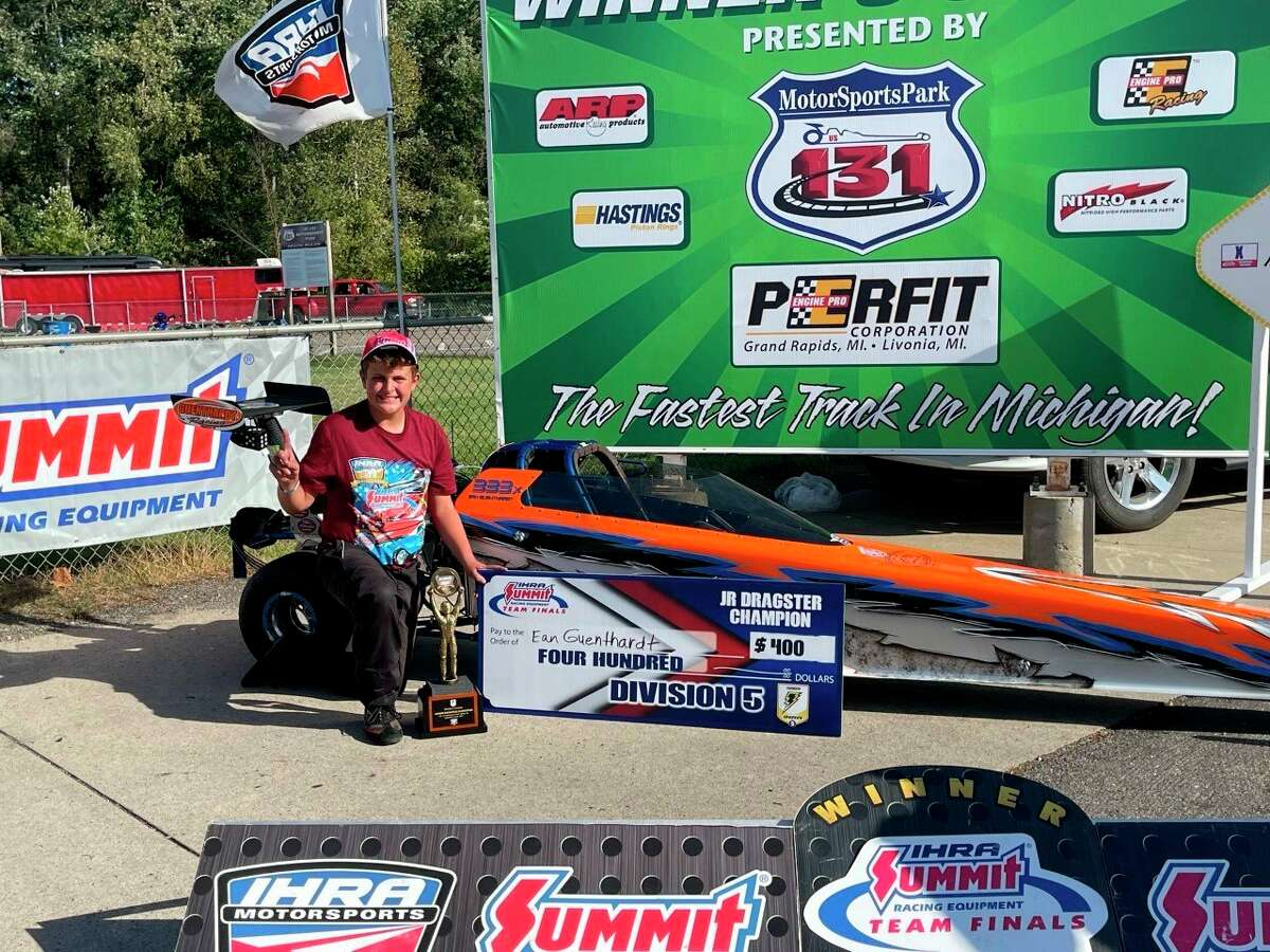 Ean Guenthardt sits down as he celebrates winning the IHRA Junior Dragster Track championship for Division 5 at the Mid-Michigan Motorplex in Stanton, MI this past weekend. (Courtesy Photo)