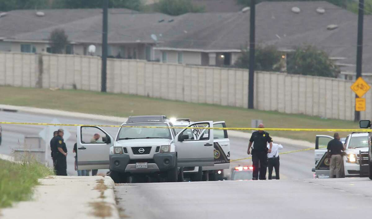 Bexar County Sheriff's Department investigates the scene of a possible deputy involved shooting on Potranco Road and Sundance Crest in far west Bexar County, Thursday, Sept. 30, 2021.