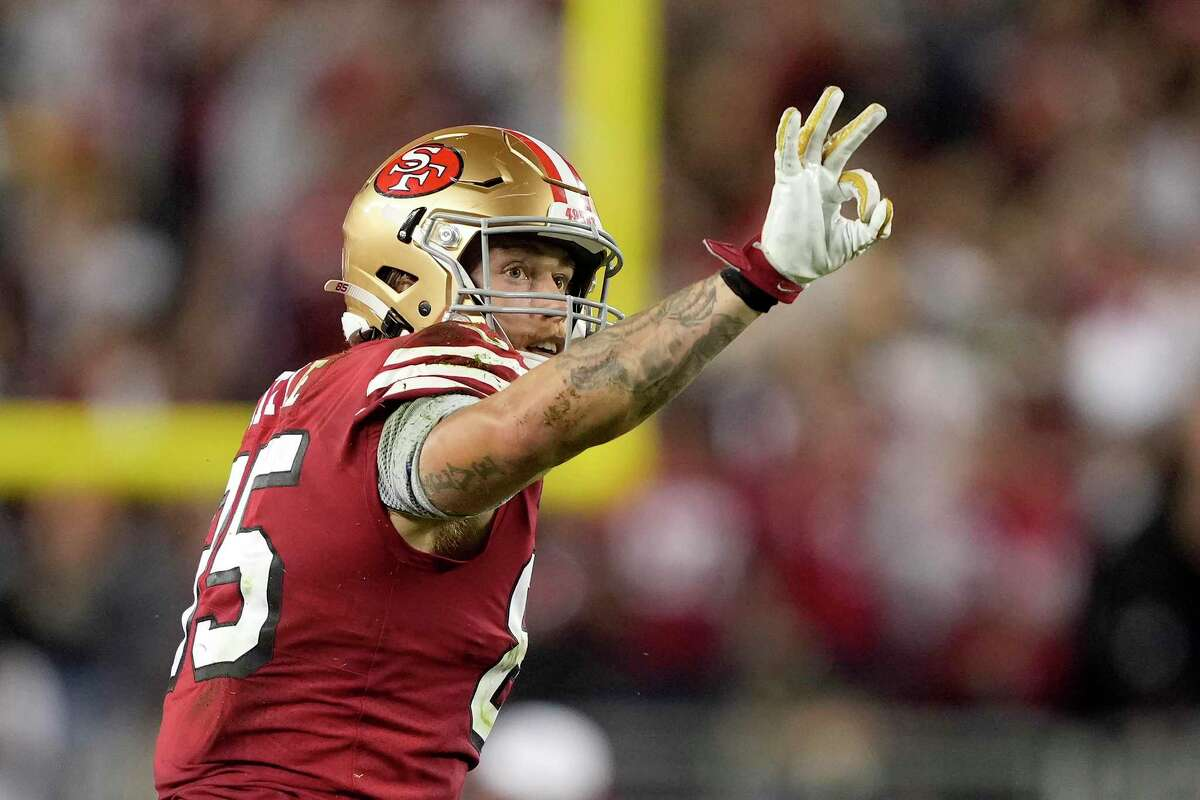 San Francisco 49ers tight end George Kittle (85) against the Green Bay Packers during an NFL football game in Santa Clara, Calif., Sunday, Sept. 26, 2021 (AP Photo/Tony Avelar)