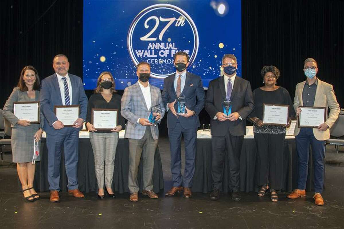 The 2021 CFISD Wall of Fame Class was recognized for achievements earned during the 2020-2021 school year at a ceremony on Sept. 27 at the Berry Center. Pictured, from left, are honorees Marney Sims, Bill Powell, Sarah Lopes, Friends of Education Jim Brown, Jerry Ashworth and Keith Barber, Joyce Simpson and Timothy Estelle. Not pictured is honoree Karen Fuller.