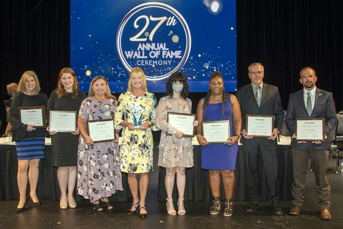 The 2020 CFISD Wall of Fame class was recognized for achievements earned during the 2019-2020 school year at a ceremony on Sept. 27 at the Berry Center. Pictured, from left, are honorees Karen Smith, Lauren Hornbeak, Jennifer Miller, Friend of Education Lynda Zelenka, Dr. Michelle Pastorek, Sabrina Dotson, Joseph Thoede and Dr. Kayne Smith. Not pictured is honoree Kathryn Haynes.