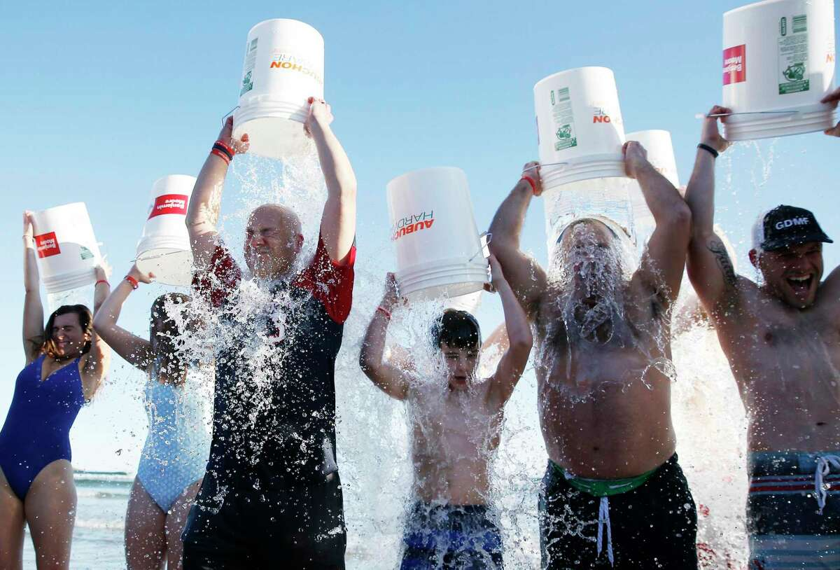 Would you do this? Thirty students at Friendswood High School are going to get drenched in ice-cold water on Oct. 6 just like these people in Gloucester, Mass. did in December 2019 to spread word about ALS, also known as Lou Gehrig's disease.