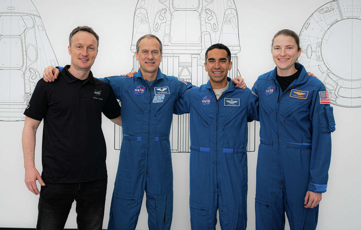 SpaceX Crew-3 astronauts (from left) Matthias Maurer, Tom Marshburn, Raja Chari and Kayla Barron pose for a portrait during preflight training at SpaceX headquarters in Hawthorne, California.