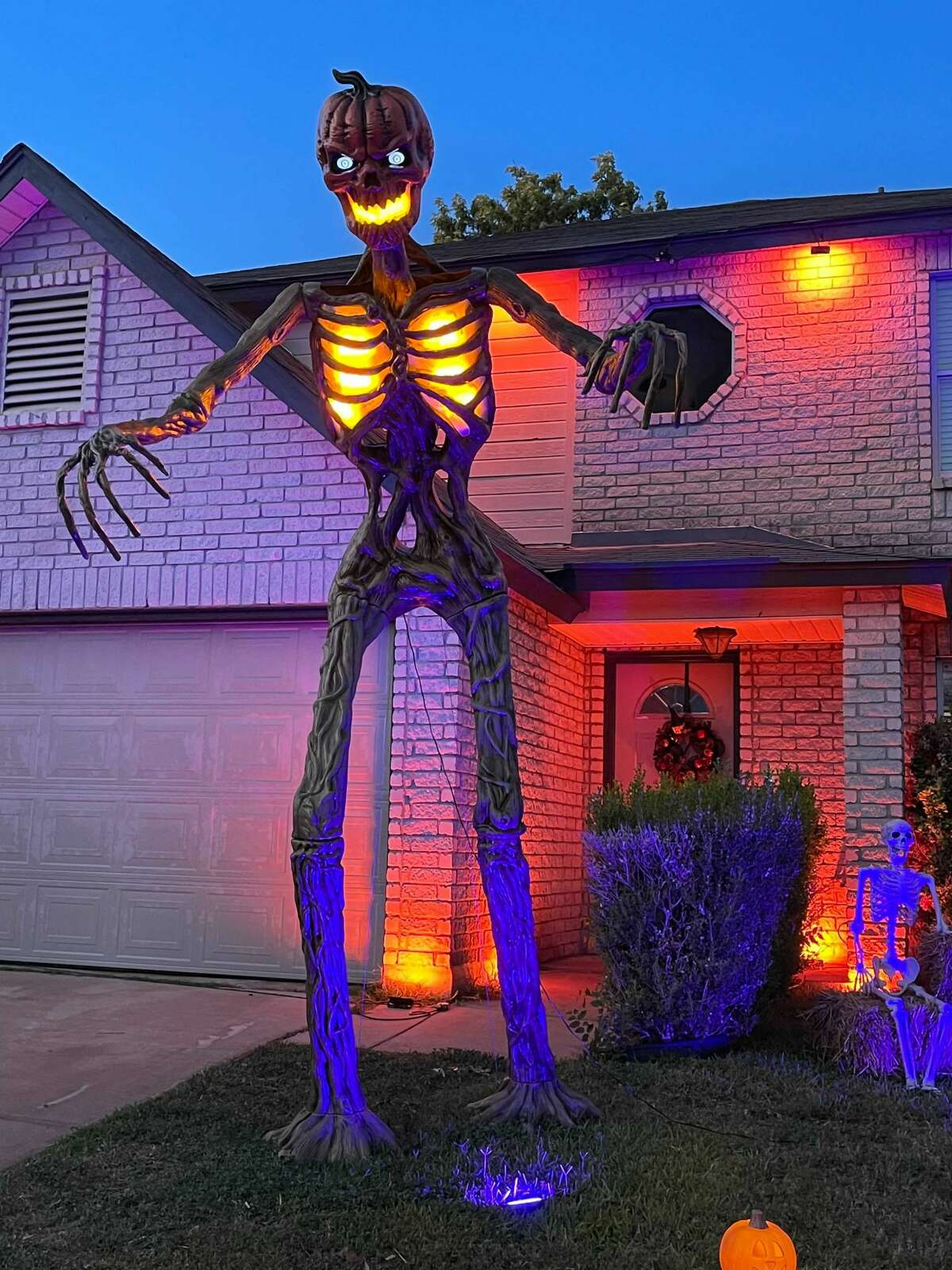 This year, Home Depot added a companion - a 12-foot skeleton with a pumpkin head and a torso that lights up named the Inferno Pumpkin.