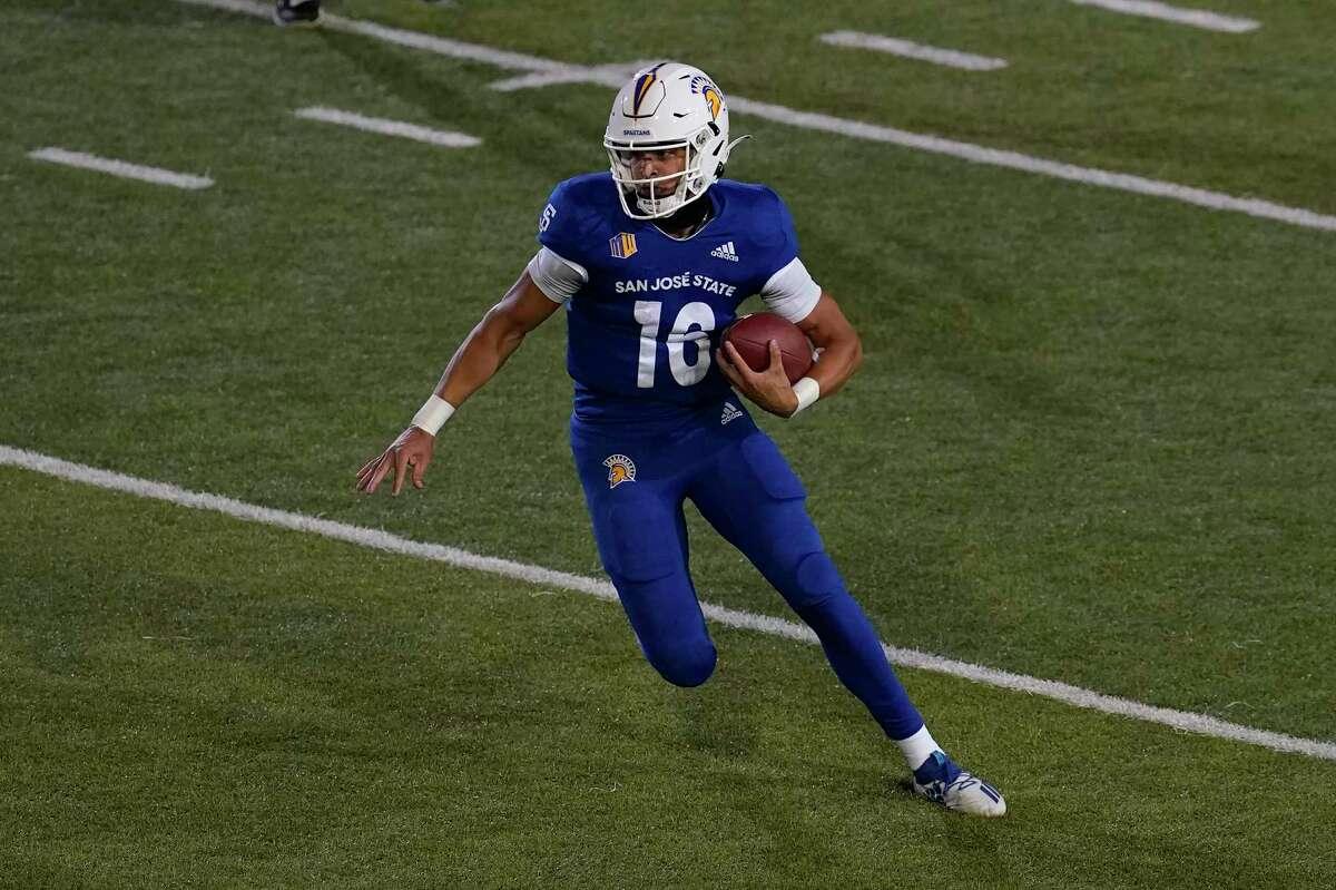San Jose State quarterback Nick Nash (16) against Air Force during an NCAA college football game in San Jose, Calif., Saturday, Oct. 24, 2020. (AP Photo/Jeff Chiu)