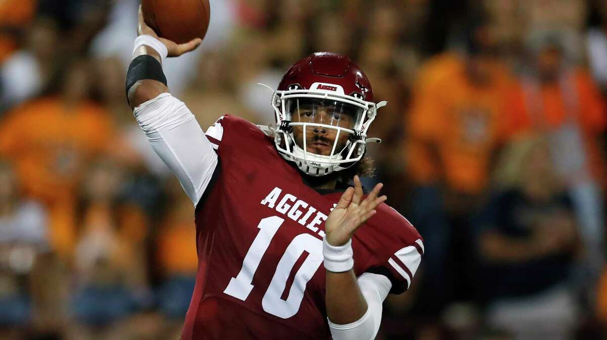 New Mexico State quarterback Jonah Johnson throws against UTEP during an NCAA football game on Saturday, Aug. 28, 2021, in Las Cruces, N.M. (AP Photo/Andres Leighton)