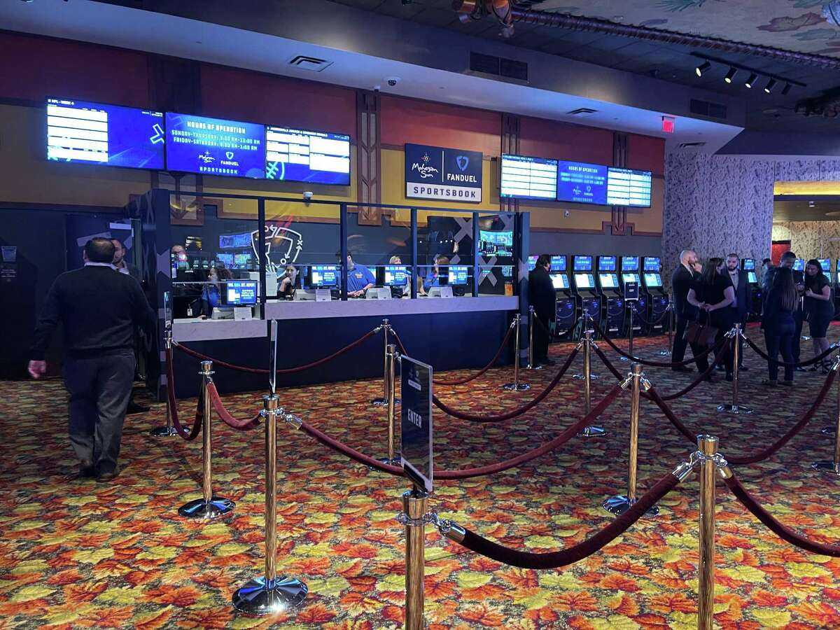 The temporary sportsbook at Mohegan Sun casino. An 11,000 square-foot permanent facility is expected to open in January.