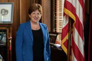 Mayor Kathy Sheehan stands in her office at City Hall on Friday, Oct, 1, 2021 in Albany, N.Y.