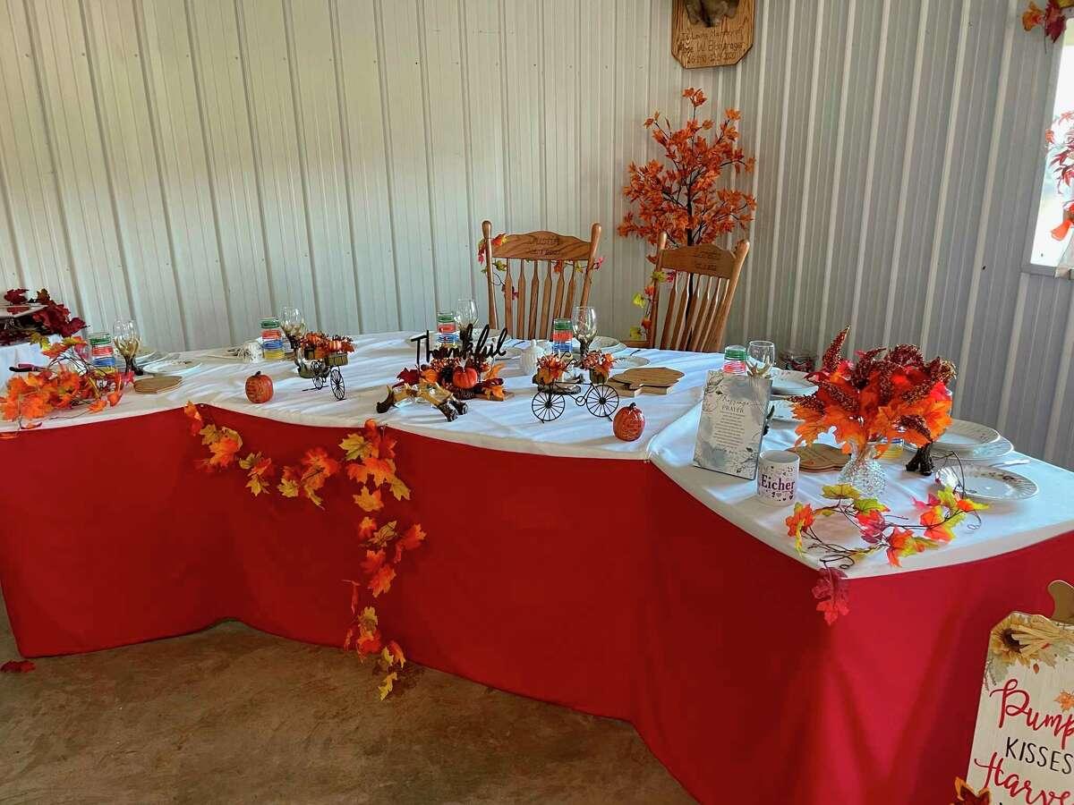 Festive fall table decorations prepared for Loretta and Dustin's wedding. (Courtesy photo)