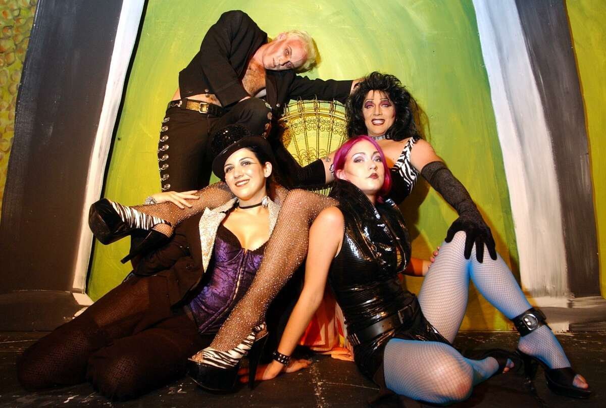 """Lee Marshall, right, starred in a 2003 staging of """"The Rocky Horror Show"""" at the Woodlawn Theatre alongside Dylan Collins, Priscilla Stanley and Kes Scudday. Marshall, who has played Dr. Frank-N-Furter in many productions of the show, is hosting a screening of the film adapation in New Braunfels."""