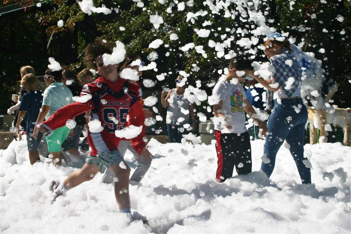 Big Rapids Middle School students participated in a Foam Fest fundraiser at Hemlock Park on Friday.