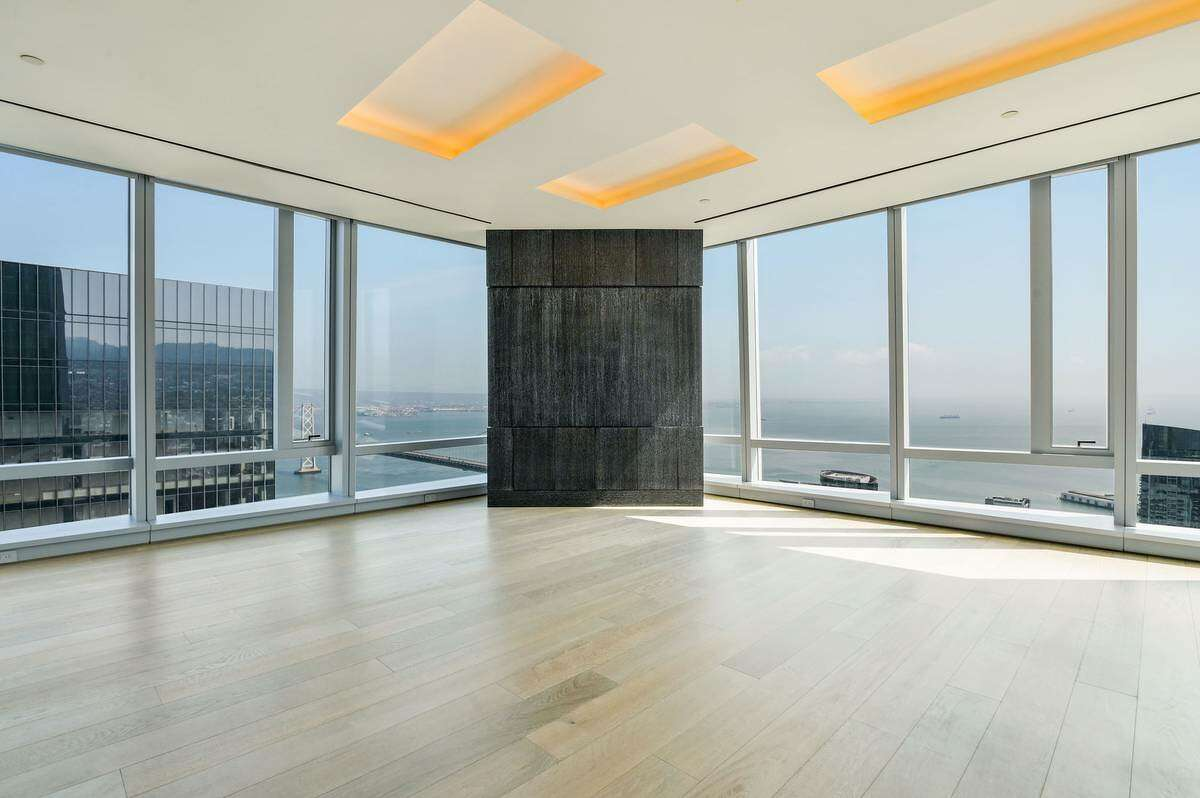 """We're not sure why there's a monolith in the apartment but it looks expensive. (This is actually one of several """"high touch blackouts"""" in the 2,100 square-foot space.)"""