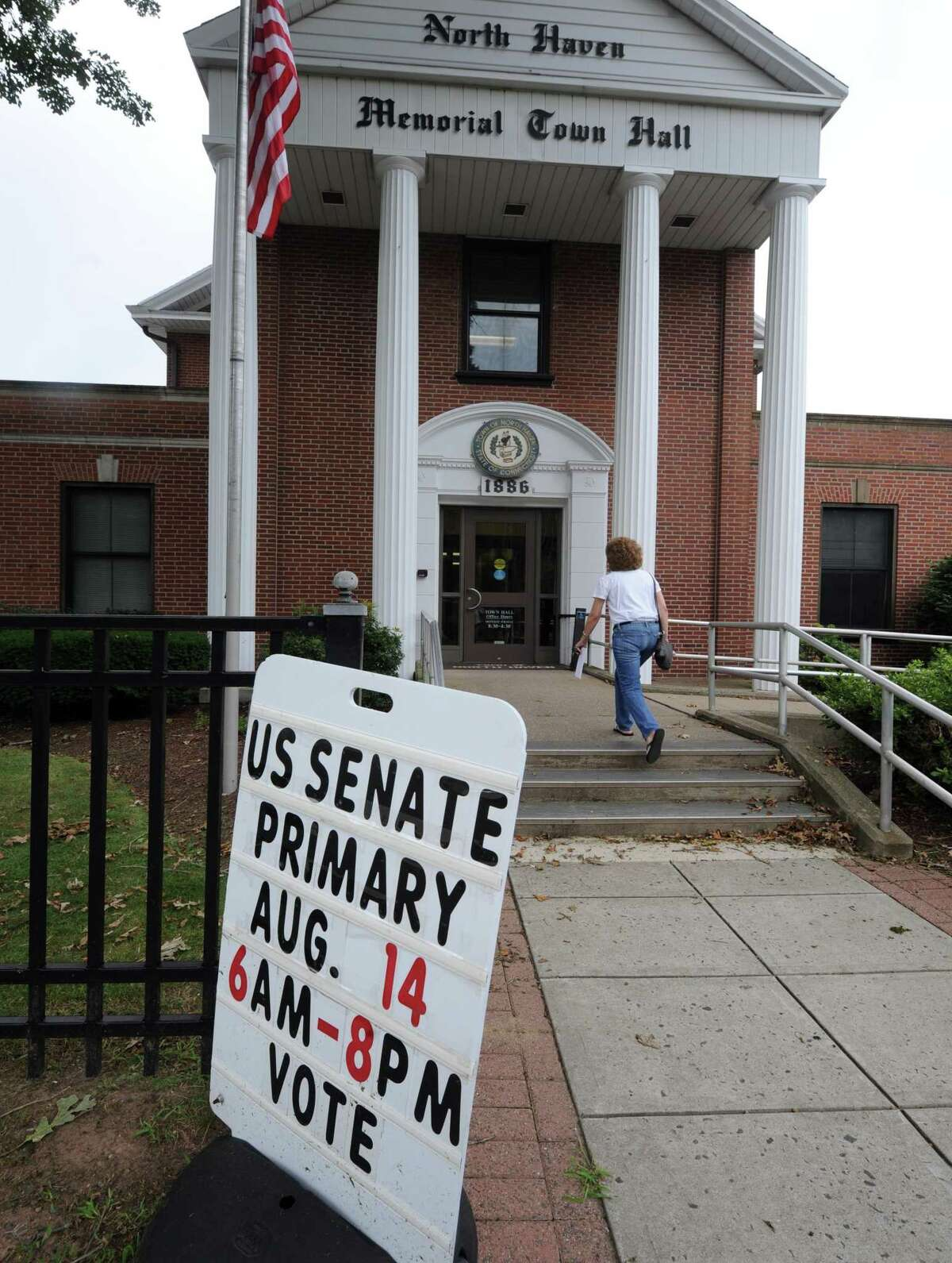 A voting sign at West Haven Town Hall for a recent election.