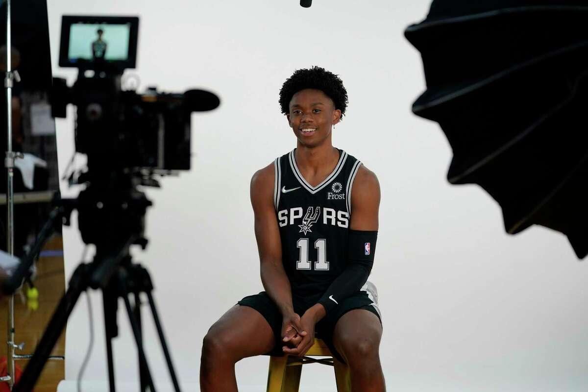 San Antonio Spurs' Josh Primo takes part in the team's NBA basketball Media Day, Monday, Sept. 27, 2021, in San Antonio. (AP Photo/Eric Gay)