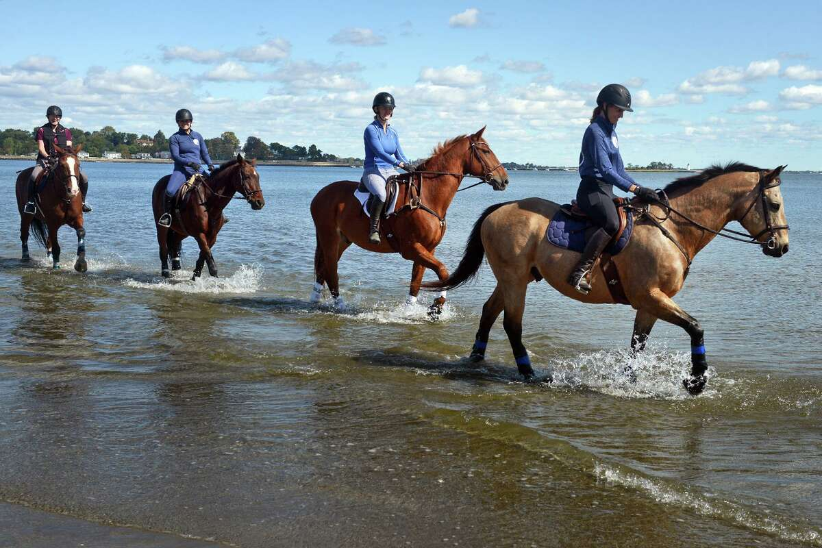 From right to left, horseback riders Karen Zuanelli on Cool, Mary Huribal on Dino, Michelle Freidman on London and Alison James on Manchester tour along the water's edge at Penfield Beach, in Fairfield, Conn. Oct. 1, 2021.