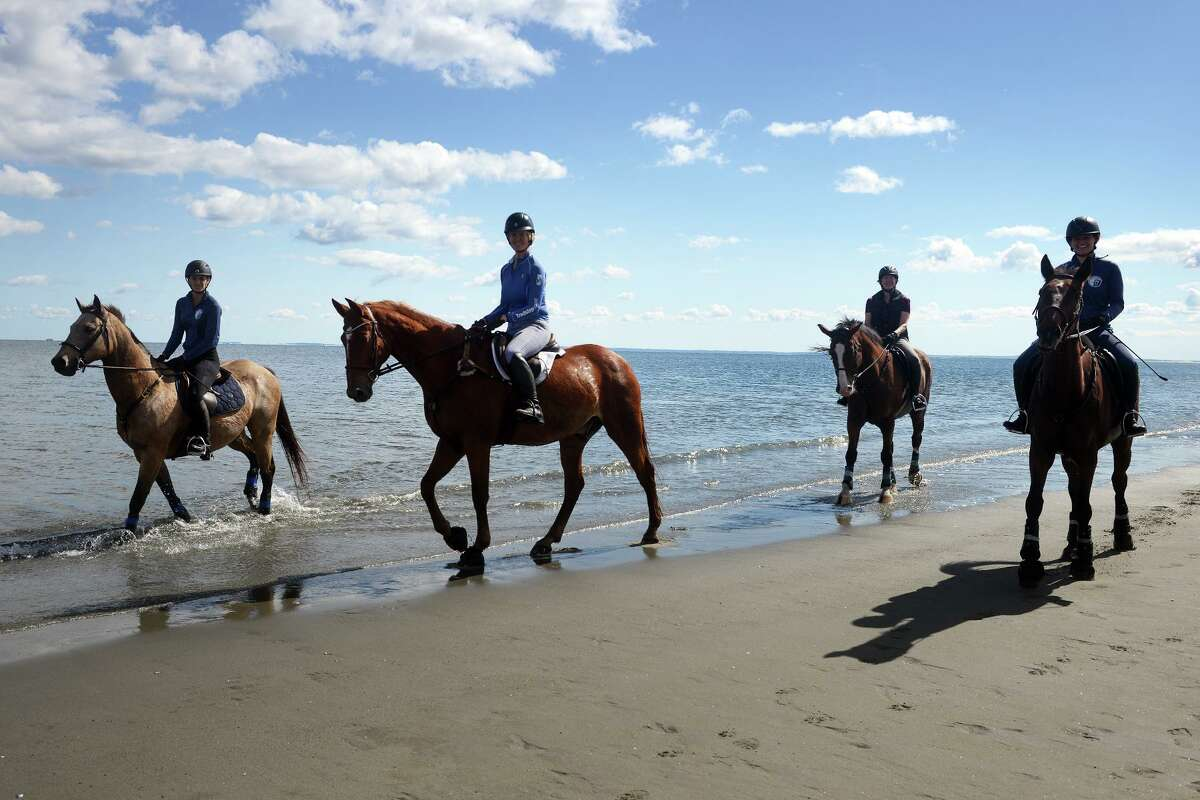 From left to right, horseback riders Karen Zuanelli on Cool, Mary Huribal on Dino, Alison James on Manchester and Michelle Freidman on London tour along the water's edge at Penfield Beach, in Fairfield, Conn. Oct. 1, 2021.