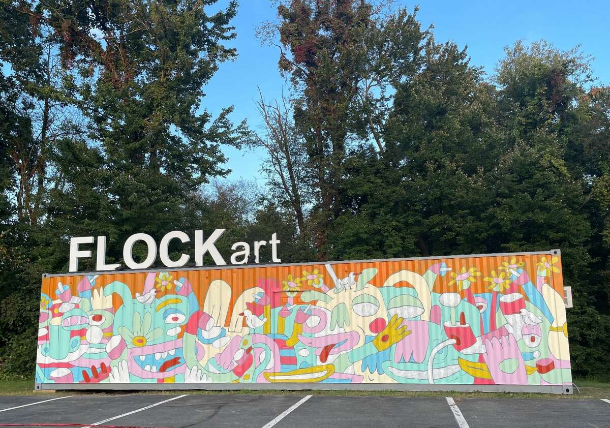 The FLOCKart Mural painted by Fernando Orellana. Students of Woodland Hill Montessori School in North Greenbush watched as Orellana painted the FLOCKart mural.