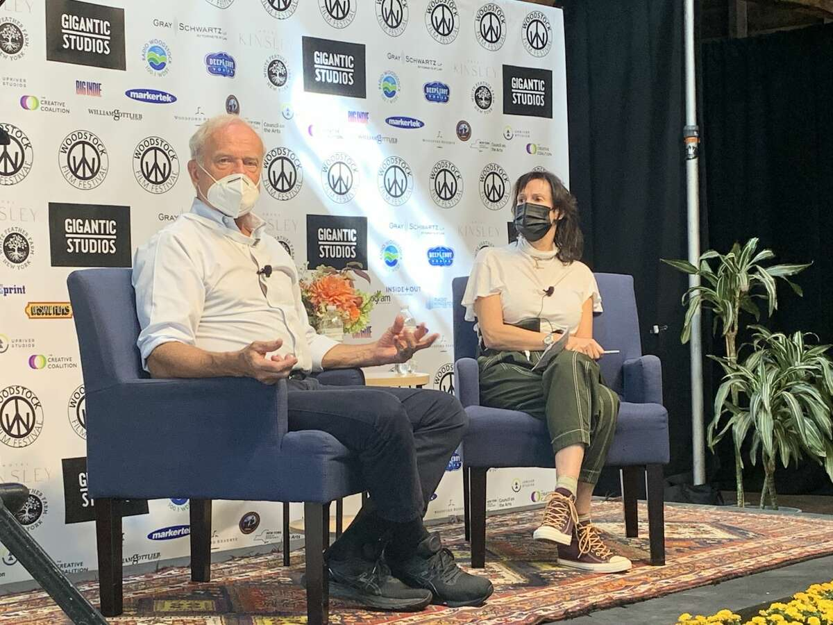 """""""This is one of the greatest places in the world,"""" actor Kelsey Grammer said of the Catskills. He isshown here at the Woodstock Film Festival on Oct. 1, 2021 with Rachel Winter, who directed him in the film, """"The Space Between."""""""
